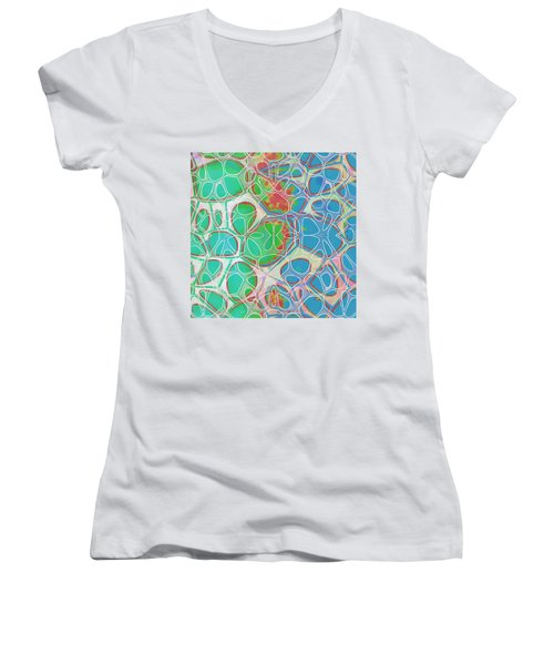 Cell Abstract 10 Women's V-Neck T-Shirt (Junior Cut) by Edward Fielding