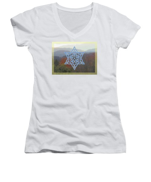 Celtic Hexagram Rose In Blue Women's V-Neck T-Shirt