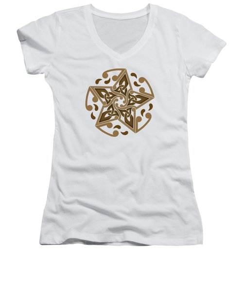 Women's V-Neck T-Shirt (Junior Cut) featuring the mixed media Celtic Star by Kristen Fox