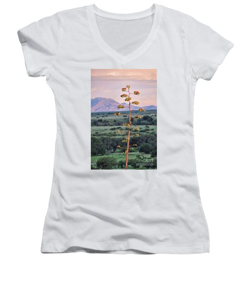 Women's V-Neck T-Shirt (Junior Cut) featuring the photograph Centuryplant by Gina Savage