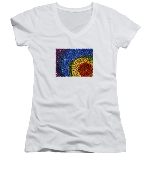 Women's V-Neck T-Shirt (Junior Cut) featuring the painting Chakra Swirl by Deborha Kerr
