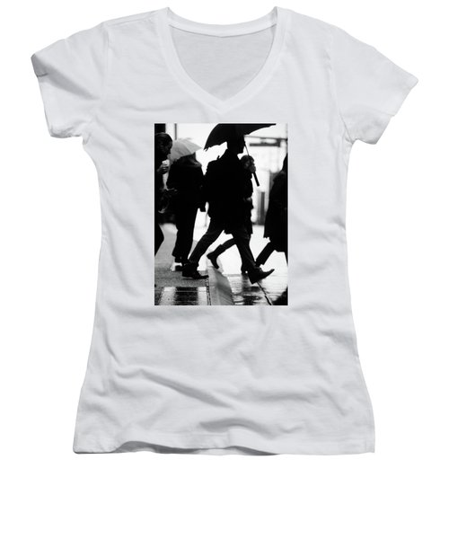 Women's V-Neck T-Shirt (Junior Cut) featuring the photograph Challenge Of Peace  by Empty Wall
