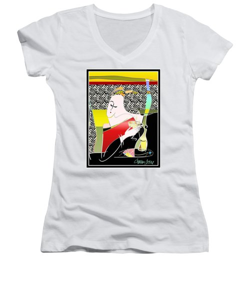 Champagne For One At The Zebra Lounge Women's V-Neck