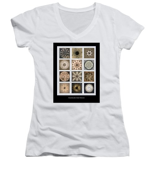 Chandeliers From Chicago Poster Women's V-Neck