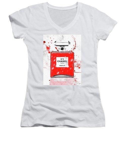 Chanel No 5 Red Women's V-Neck T-Shirt