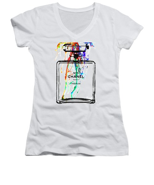 Chanel No. 5 Watercolor Women's V-Neck T-Shirt