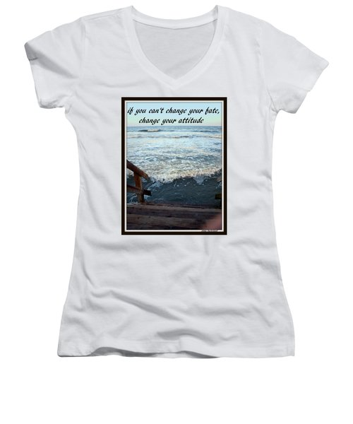 Women's V-Neck T-Shirt (Junior Cut) featuring the photograph Change Your Attitude by Irma BACKELANT GALLERIES