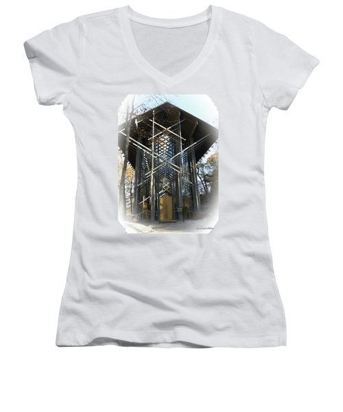 Women's V-Neck T-Shirt (Junior Cut) featuring the photograph Chapel In The Woods by Lena Wilhite