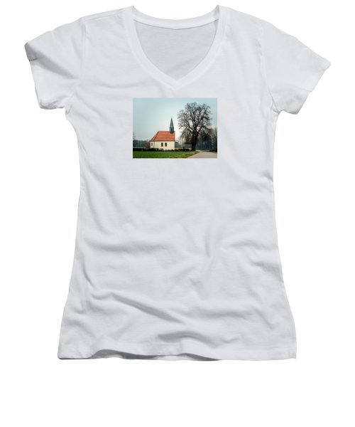 Chapel Under The Tree Women's V-Neck T-Shirt (Junior Cut) by Daniel Precht