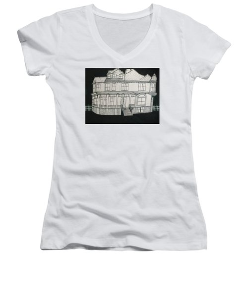 Women's V-Neck T-Shirt (Junior Cut) featuring the drawing Charles A. Spies Historical Menominee Home. by Jonathon Hansen