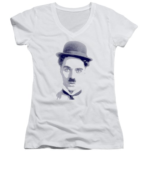 Charlie Chaplin - Cross Hatching In Blue Women's V-Neck (Athletic Fit)