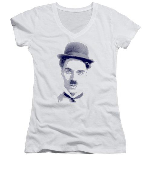 Charlie Chaplin - Cross Hatching In Blue Women's V-Neck T-Shirt
