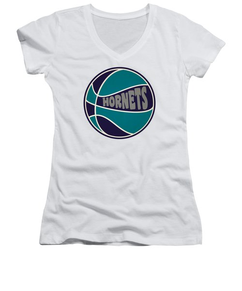 Charlotte Hornets Retro Shirt Women's V-Neck T-Shirt (Junior Cut) by Joe Hamilton