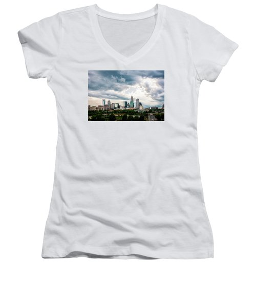 Women's V-Neck T-Shirt (Junior Cut) featuring the photograph Charlotte In The Clouds by Phyllis Peterson