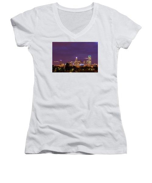 Charlotte, North Carolina Sunrise Women's V-Neck T-Shirt (Junior Cut) by Serge Skiba