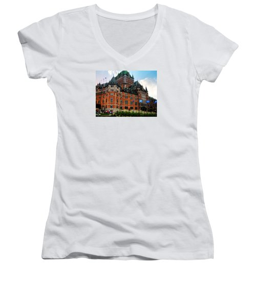 Chateau Frontenac Women's V-Neck T-Shirt (Junior Cut) by Robin Regan