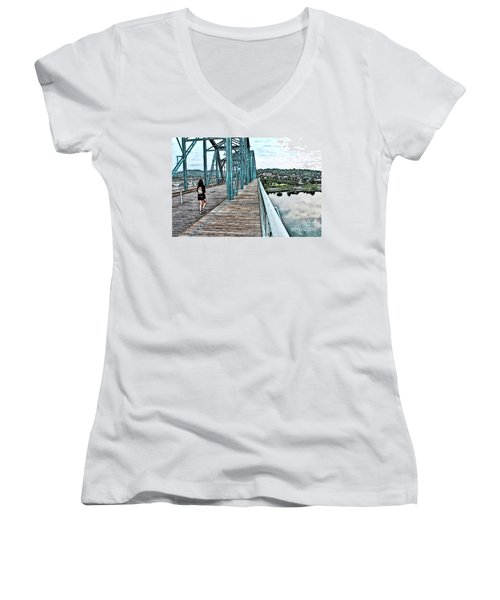 Chattanooga Footbridge Women's V-Neck (Athletic Fit)