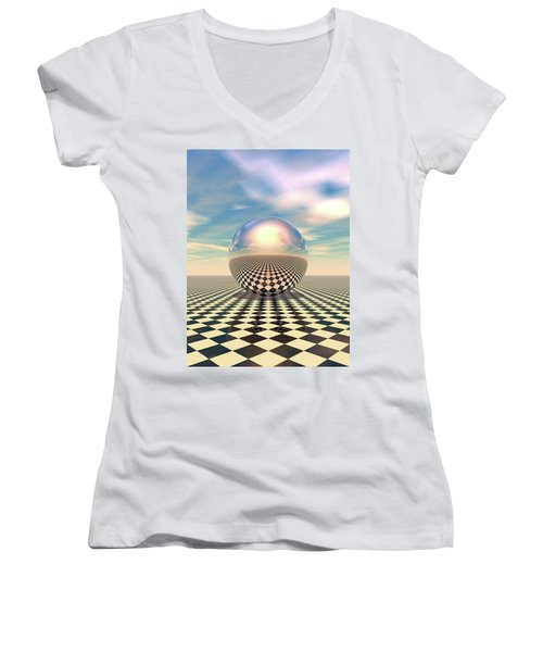 Women's V-Neck T-Shirt (Junior Cut) featuring the digital art Checker Ball by Phil Perkins