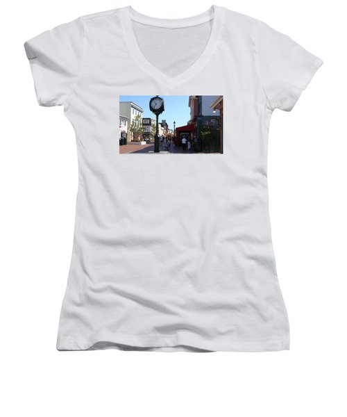 Women's V-Neck T-Shirt (Junior Cut) featuring the painting Checking Out The Shops In Cape May by Rod Jellison