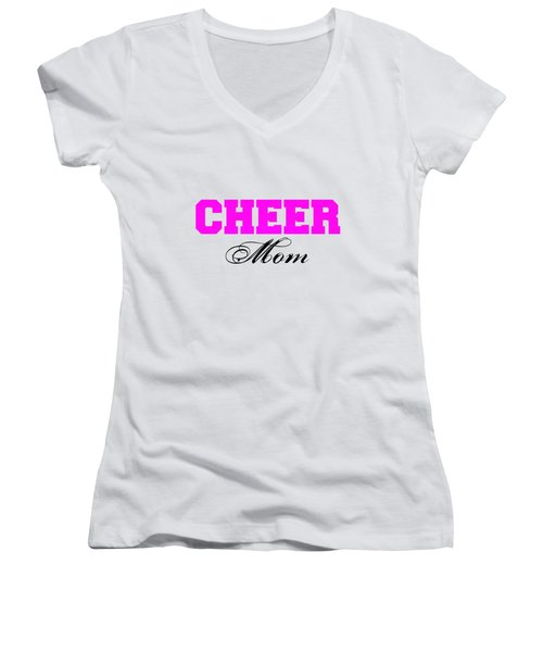 Cheer Mom Typography In Pink And Black Women's V-Neck (Athletic Fit)