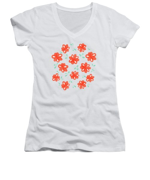 Cheerful Red Flowers Women's V-Neck T-Shirt