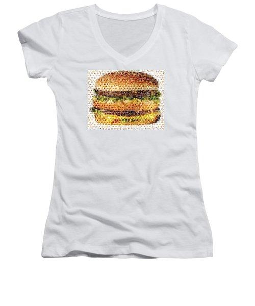 Women's V-Neck T-Shirt (Junior Cut) featuring the mixed media Cheeseburger Fast Food Mosaic by Paul Van Scott