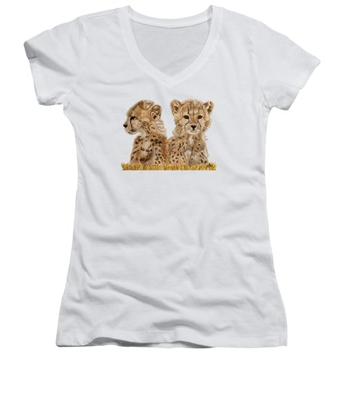 Cheetah Cubs Women's V-Neck T-Shirt (Junior Cut) by Angeles M Pomata