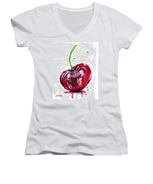 Cherry 2 Women's V-Neck T-Shirt (Junior Cut)