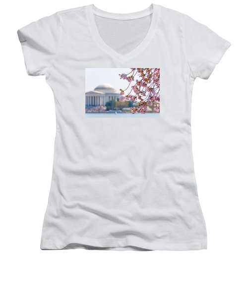 Cherry Blossoms And Jefferson Memorial Women's V-Neck (Athletic Fit)