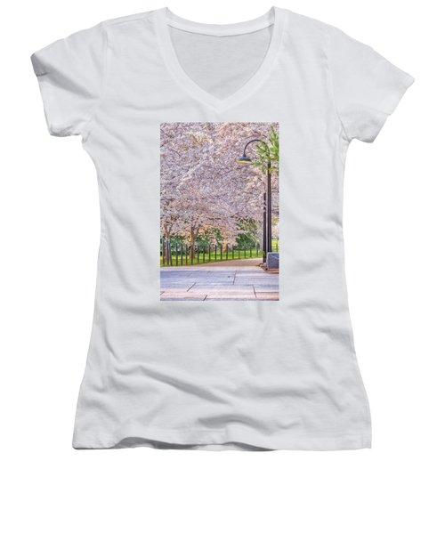 Cherry Morning Path Women's V-Neck T-Shirt (Junior Cut) by David Cote