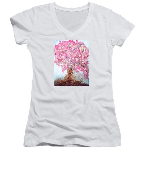 Cherry Tree By Colleen Ranney Women's V-Neck