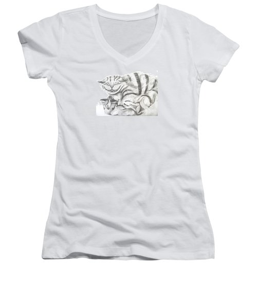 Women's V-Neck T-Shirt (Junior Cut) featuring the drawing Chershire Cat  by Meagan  Visser