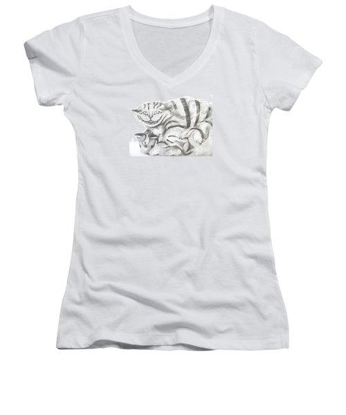 Chershire Cat  Women's V-Neck T-Shirt (Junior Cut) by Meagan  Visser