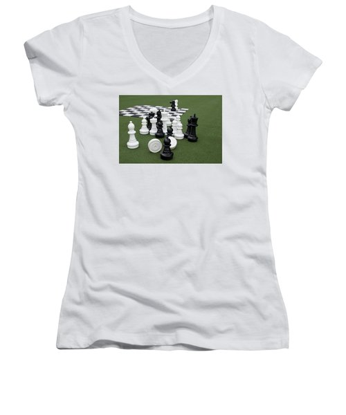 Chess Pieces Women's V-Neck (Athletic Fit)