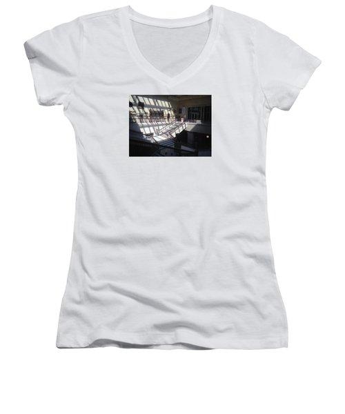 Chicago Art Institude Women's V-Neck T-Shirt (Junior Cut) by Paul Meinerth