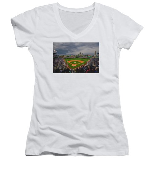 Chicago Cubs Wrigley Field 4 8213 Women's V-Neck T-Shirt (Junior Cut)