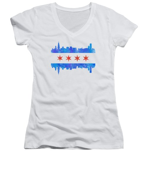 Chicago Flag Watercolor Women's V-Neck T-Shirt (Junior Cut) by Mike Maher