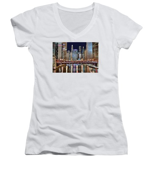 Chicago Full City View Women's V-Neck T-Shirt (Junior Cut) by Frozen in Time Fine Art Photography