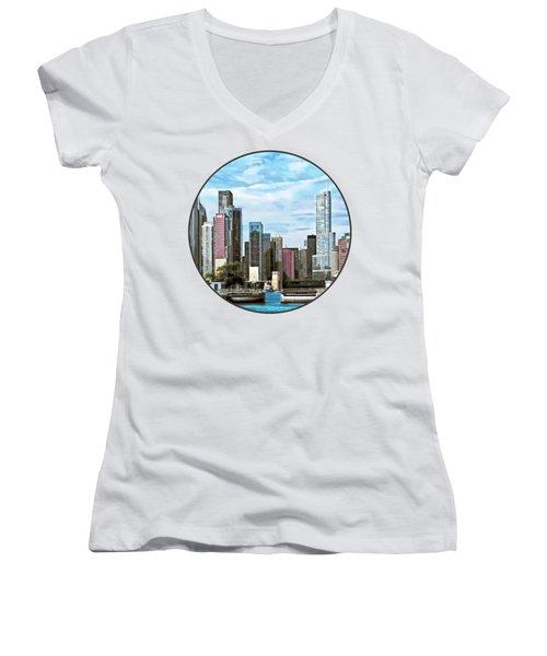 Chicago Il - Chicago Harbor Lock Women's V-Neck T-Shirt