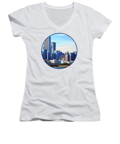 Chicago Il - Chicago Skyline And Navy Pier Women's V-Neck T-Shirt