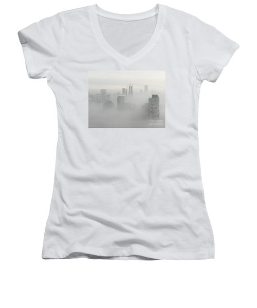 Chicago In The Clouds Women's V-Neck T-Shirt (Junior Cut) by Kate Purdy
