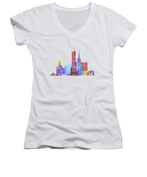 Chicago Landmarks Watercolor Poster Women's V-Neck T-Shirt (Junior Cut) by Pablo Romero