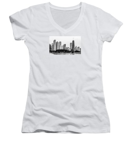 Chicago Skyline Architecture Women's V-Neck T-Shirt (Junior Cut) by Julie Palencia