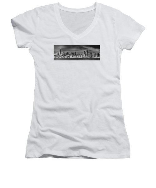 Chicago Skyline At Night Black And White Women's V-Neck (Athletic Fit)