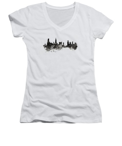 Women's V-Neck T-Shirt (Junior Cut) featuring the digital art Chicago Skyline Black And White by Marian Voicu