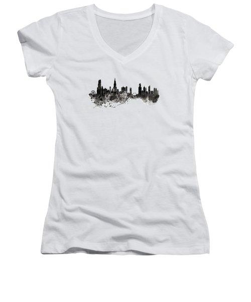 Chicago Skyline Black And White Women's V-Neck (Athletic Fit)