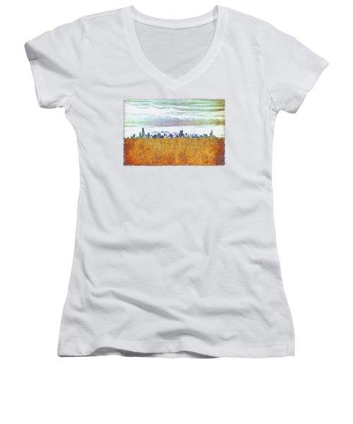 Chicago Skyline Women's V-Neck T-Shirt (Junior Cut) by Di Designs
