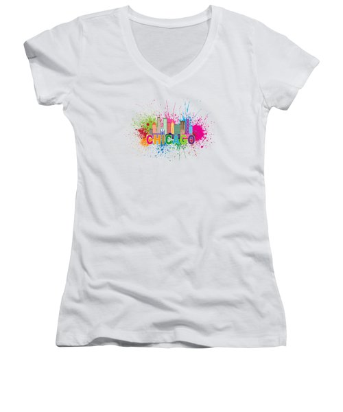 Chicago Skyline Paint Splatter Text Illustration Women's V-Neck T-Shirt (Junior Cut) by Jit Lim
