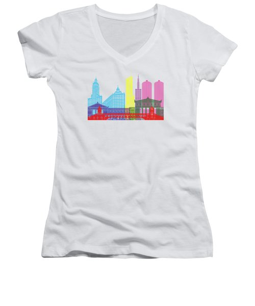 Chicago Skyline Pop Women's V-Neck T-Shirt (Junior Cut) by Pablo Romero