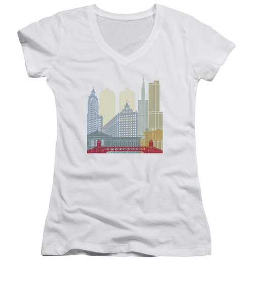 Chicago Skyline Poster Women's V-Neck T-Shirt (Junior Cut) by Pablo Romero